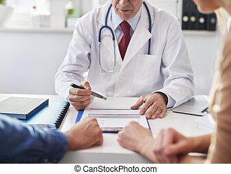 prognoza, ordynacyjny, młoda para, doktor