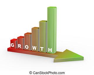 progrès, croissance, 3d, bar.