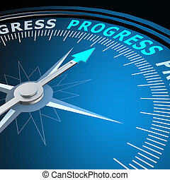 progrès, mot, compas