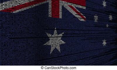 Program code and flag of Australia. Australian digital...