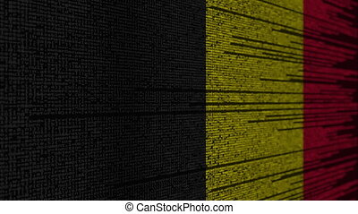 Program code and flag of Belgium. Belgian digital technology or programming related loopable animation