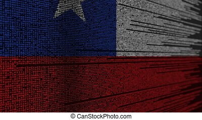 Program code and flag of Chile. Chilean digital technology...