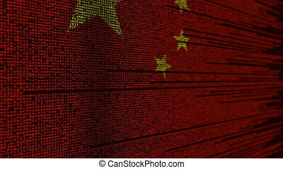 Program code and flag of China. Chinese digital technology...