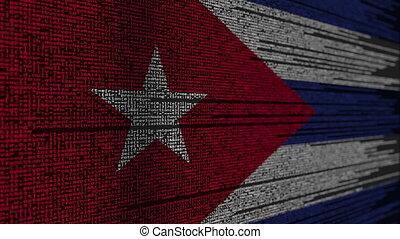 Program code and flag of Cuba. Cuban digital technology or...