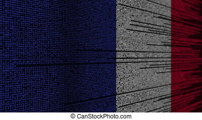 Program code and flag of France. French digital technology...