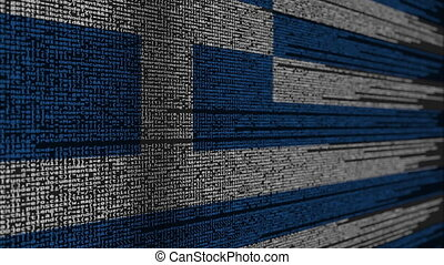 Program code and flag of Greece. Greek digital technology or...