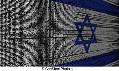 Program code and flag of Israel. Israeli digital technology...