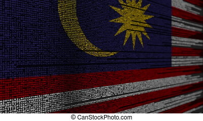 Program code and flag of Malaysia. Malaysian digital...