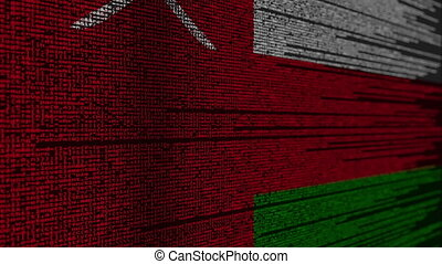 Program code and flag of Oman. Omani digital technology or programming related loopable animation