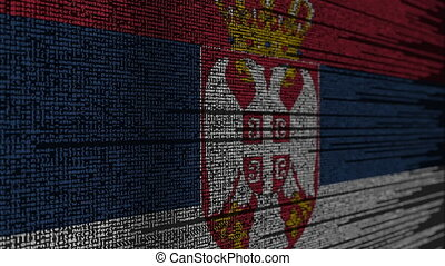 Program code and flag of Serbia. Serbian digital technology...