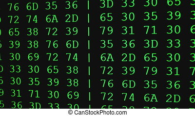 Program HEX code on scientific device screen, green text ASCI information, 4K UHD video