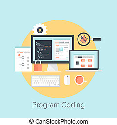 Abstract flat vector illustration of software coding and development concepts. Design elements for mobile and web applications.