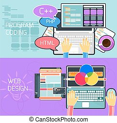Program coding and web design - Flat design concept of...