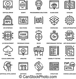 Program Coding Icons - Abstract vector collection of line...