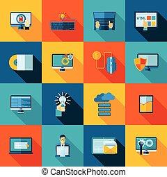 Program development website usability and optimization flat icons set isolated vector illustration