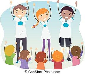 program, dzieciaki, efekty uboczne, wiek dojrzewania, ilustracja, stickman