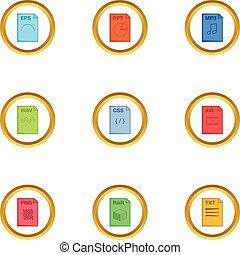 Program file icons set, cartoon style