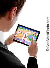 program, holdingen, isolerat, touchpad, pc, affärsman, användande, vit, navigation