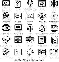 programa, codificación, iconos