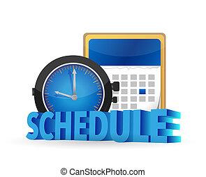 programa, ligado, um, calendário, conceito