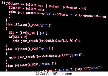 programación, código, en, negro, pantalla, rojo, texto