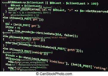programación, código, en, negro, pantalla, verde, texto