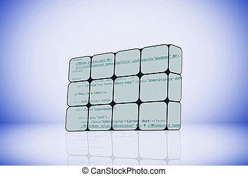 programación, código, en, un, resumen, cubo