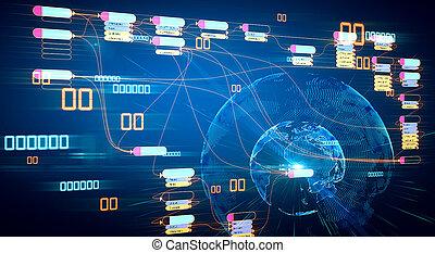 programación, mapa, cadena, futuistic, concepto, red, bloque, mundo digital, infographic, fondo.