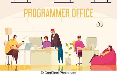 programador, escritório, fundo
