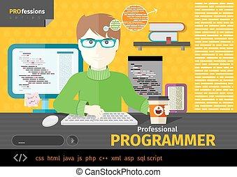 programador, macho, lugar de trabajo, dispositivos, digital