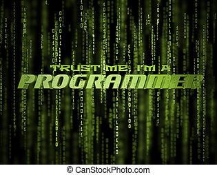 programador, matriz, 3d