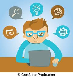 programador, vector, caricatura