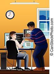 programadores ordenadores, trabajando, en, la oficina