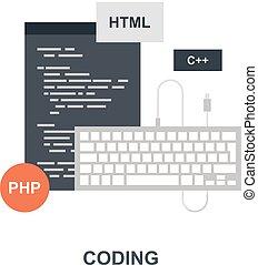 programm, kodierung, ikone, begriff