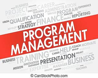 programma, amministrazione, parola, nuvola, collage