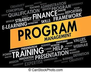 programma, amministrazione, parola, nuvola