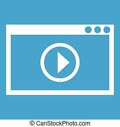 programma, bianco, playback, video, icona