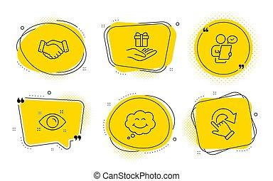 programma, glimlachen, trouw, handdruk, set., werknemers, iconen, vector
