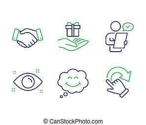 programma, handdruk, set., trouw, iconen, glimlachen, werknemers, vector