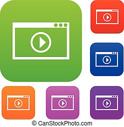 programma, set, video, playback, collezione