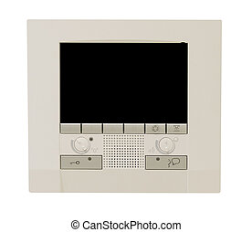 Programmable digital thermostat isolated on white with...