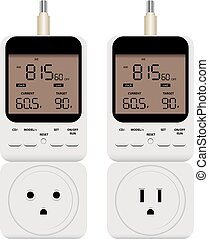 Programmable output thermostat with timer for heating and...