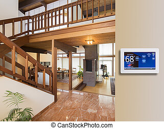 Programmable thermostat for temperature control in entrance...