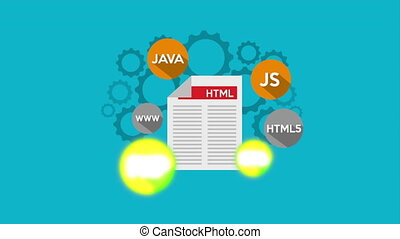 programmation, animation, icônes, document, langue
