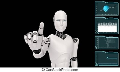 programmation, robot, intelligence, grand, cgi, analytics, futuriste, artificiel, données