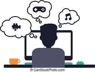 programmatore, progettista, computer, tema