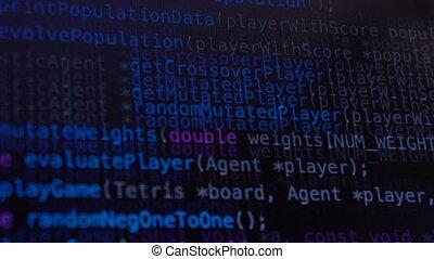 programmazione, codice, correndo giù, sopra, schermo...