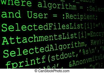 programme, code, moniteur