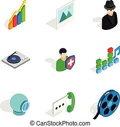 Programme design icons set, isometric style - Programme...