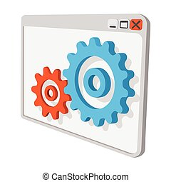 Programme settings cartoon icon. Orange and blue symbol...